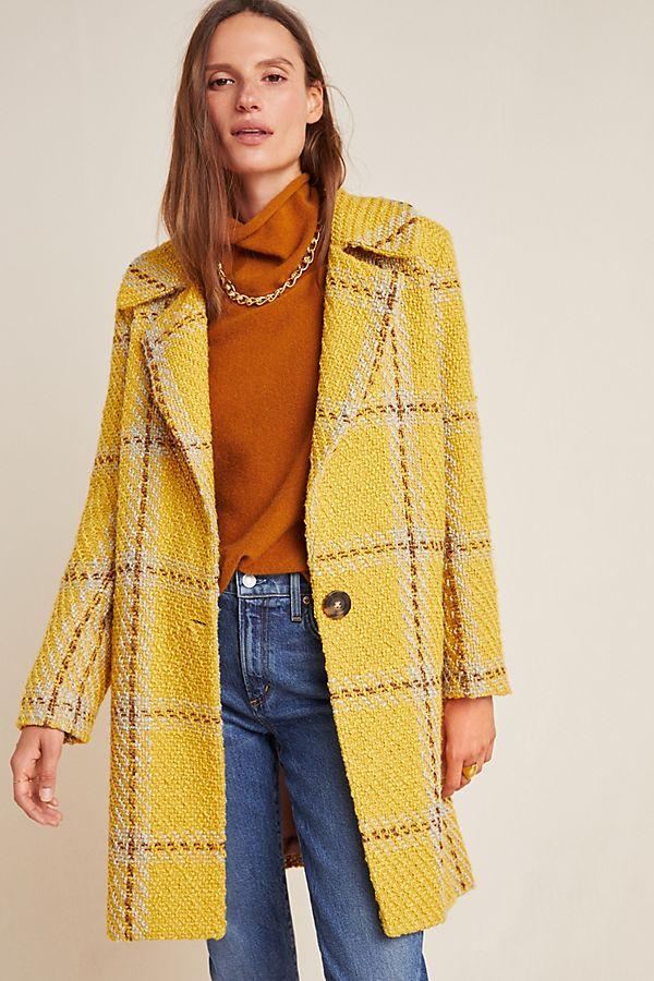Slide View: 1: Nettie Plaid Tweed Coat