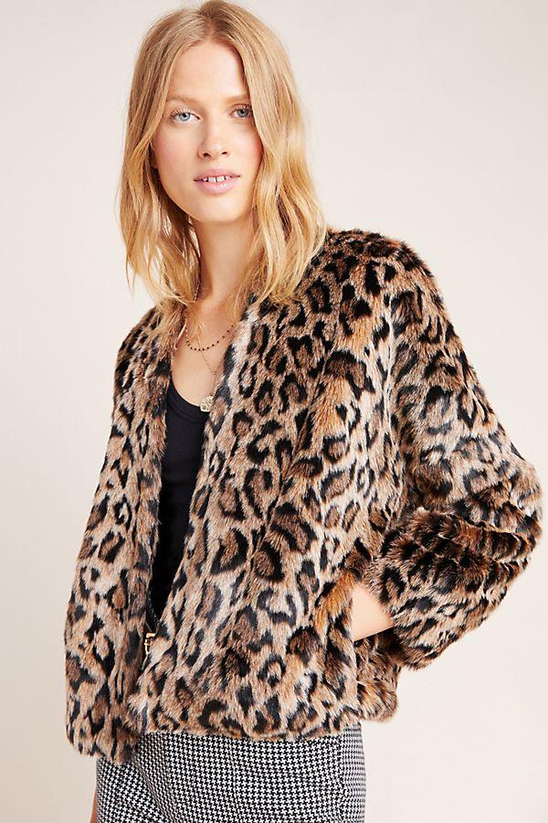 Slide View: 2: Plush Leopard Jacket