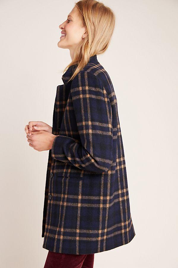 Slide View: 1: Jasmann Plaid Wool Coat
