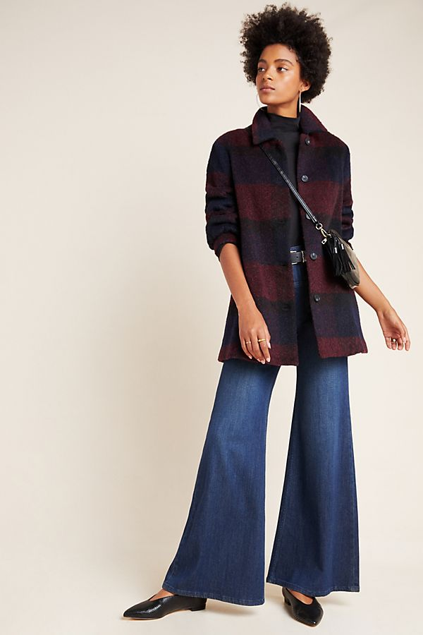 Slide View: 1: Kourtney Plaid Sweater Coat