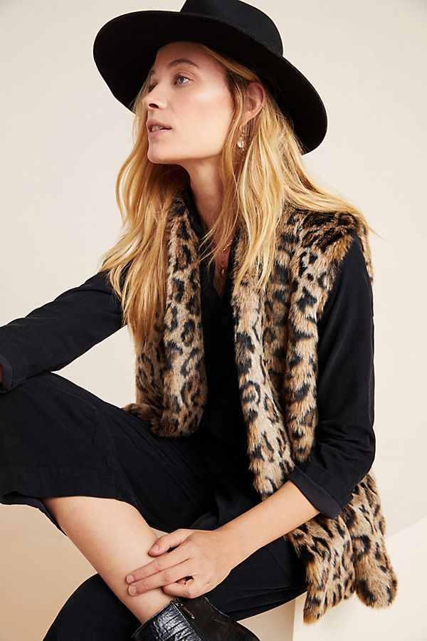 Slide View: 1: Stephie Leopard Faux Fur Vest