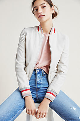Slide View: 1: Doma Winona Leather Bomber Jacket