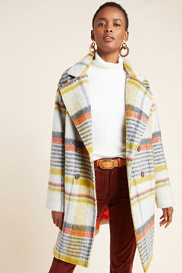 Slide View: 1: Camille Double-Breasted Plaid Coat