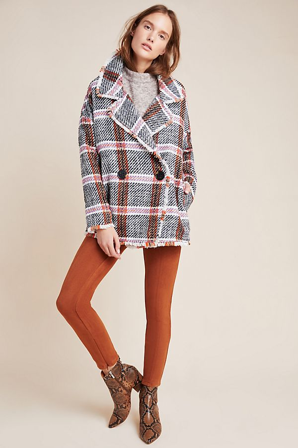 Slide View: 1: Carrie Double-Breasted Tweed Coat