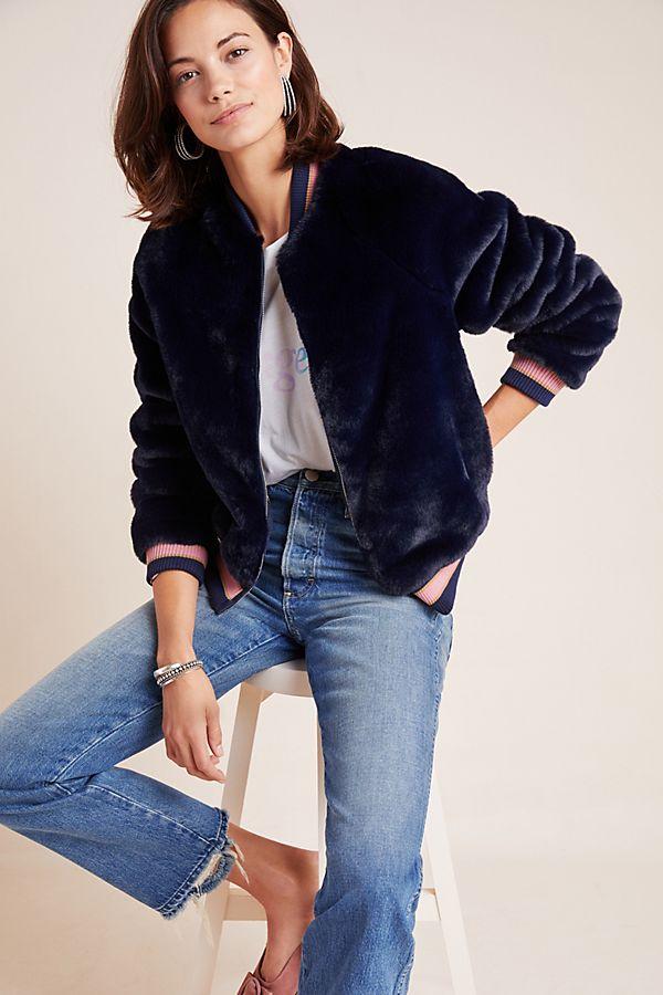 Slide View: 1: MOTHER Savoy Faux Fur Jacket