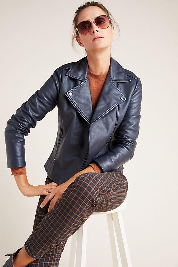 Slide View: 1: Harper Leather Moto Jacket