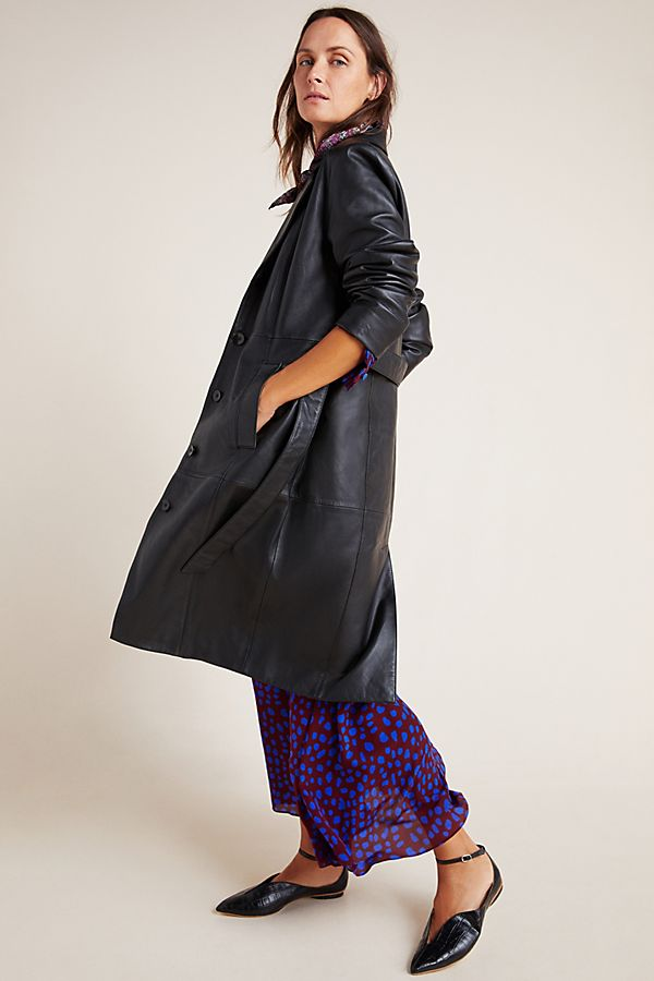 Slide View: 1: Donna Leather Trenchcoat