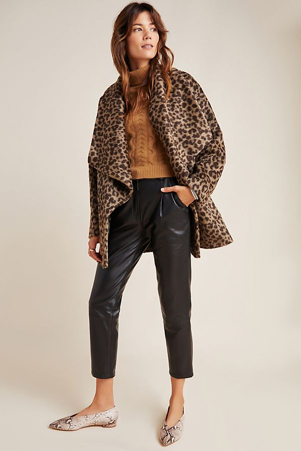 Slide View: 1: Helene Berman Leopard Faux Fur Coat