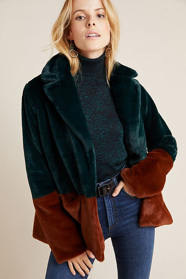 Slide View: 1: Marcena Colorblocked Faux Fur Jacket