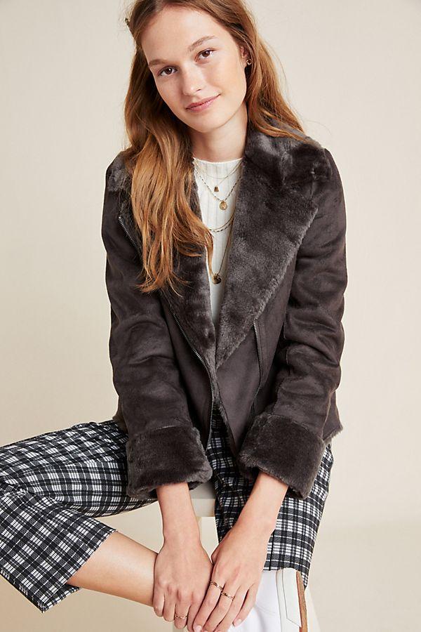 Slide View: 1: Evita Faux Fur Aviator Jacket