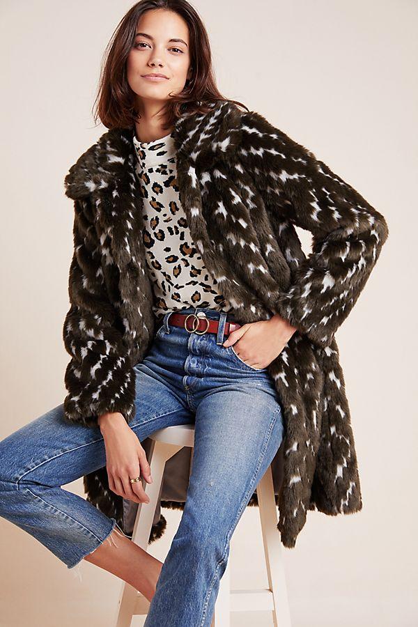 Slide View: 1: Dara Faux Fur Coat