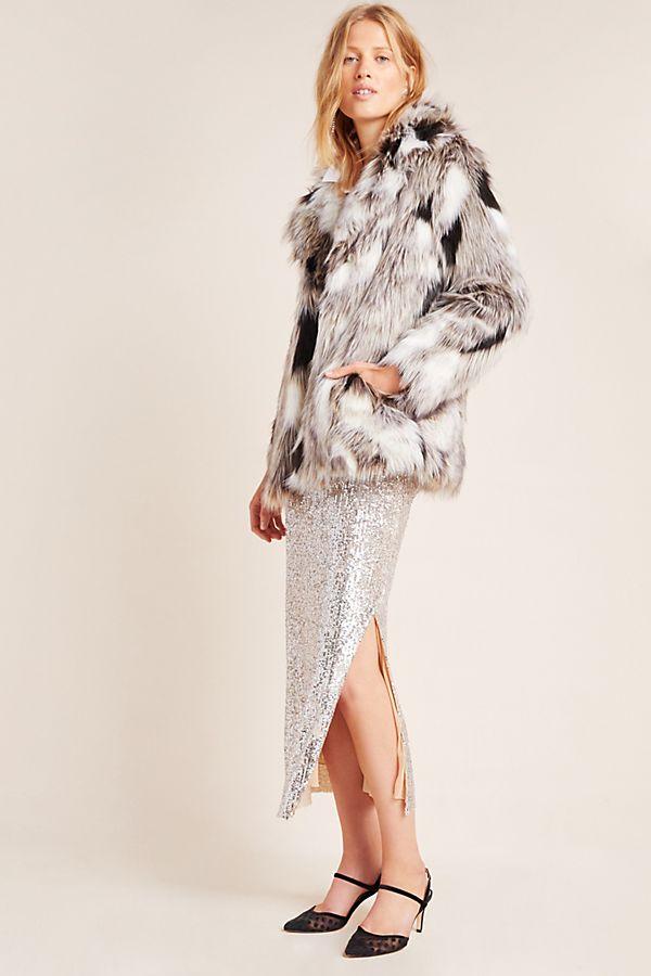 Slide View: 1: Paola Faux Fur Coat