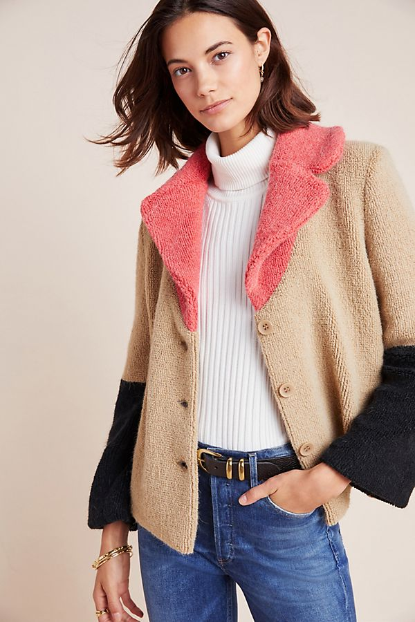 Slide View: 1: Luciana Colorblocked Teddy Jacket