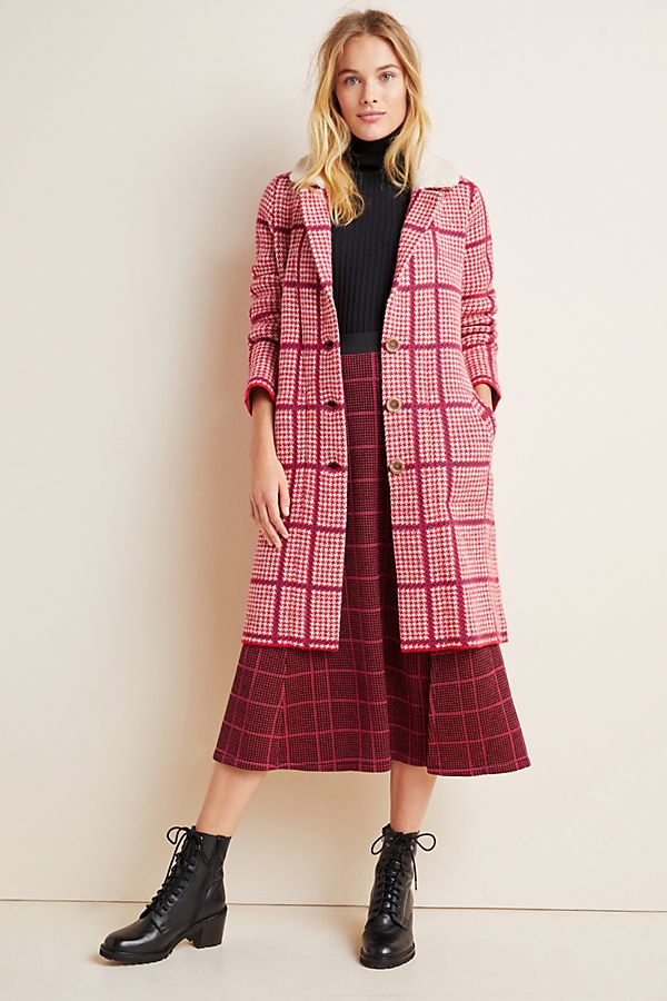 Slide View: 1: Petra Plaid Sweater Coat