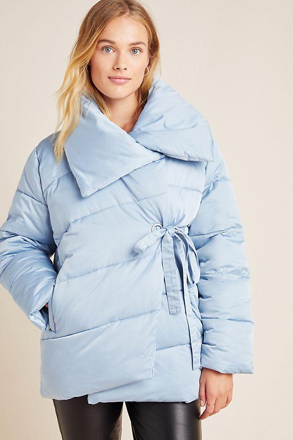 Slide View: 1: Oversized Wrap Puffer Jacket