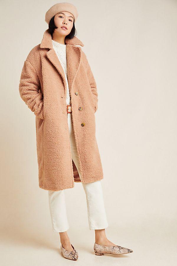 Slide View: 1: Macie Sherpa Cocoon Coat