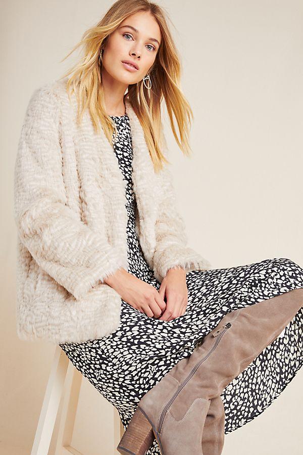 Slide View: 1: Noemie Faux Fur Coat