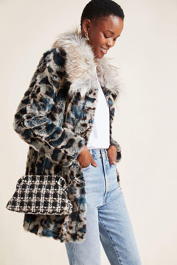 Slide View: 1: Leopard Faux Fur Coat