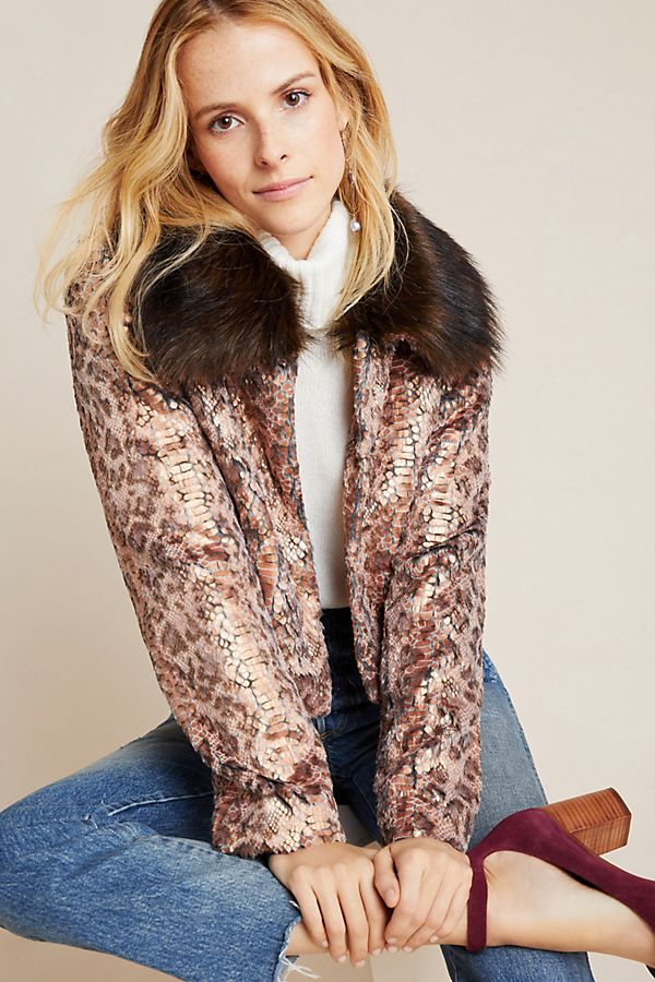 Slide View: 1: Serpentina Faux Fur-Trimmed Jacket