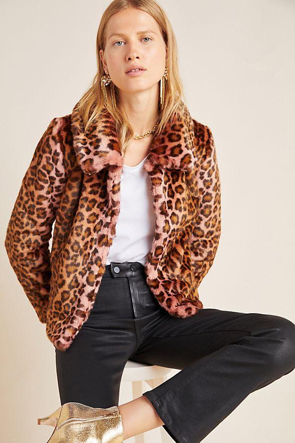 Slide View: 2: Leopard Faux Fur Jacket