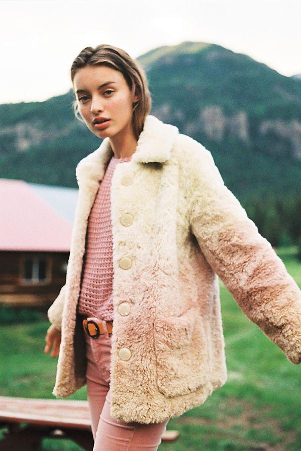 Slide View: 1: Ombre Faux Fur Coat