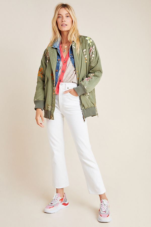 Slide View: 1: Ainsley Embroidered Bomber Jacket