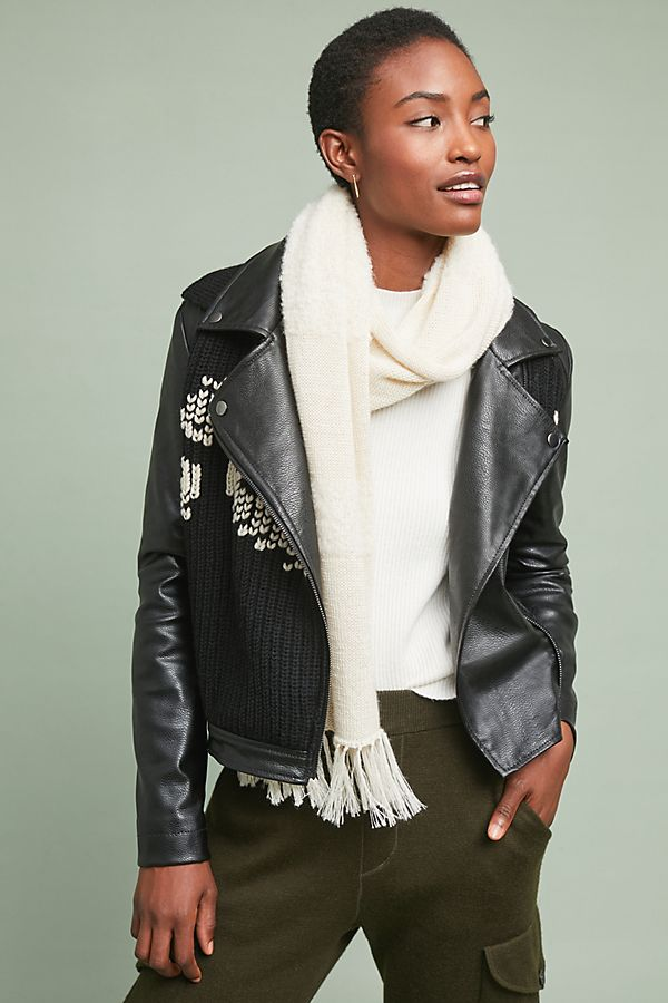 5e200a091b Sweater-Trimmed Faux-Leather Moto Jacket
