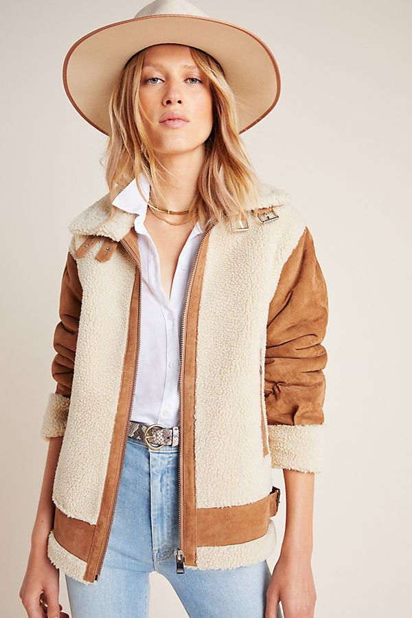 Slide View: 1: Lamarque Colby Moto Sherpa Jacket