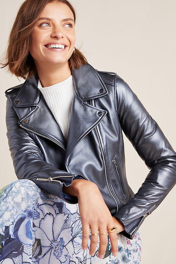 Slide View: 1: Lamarque Donna Leather Moto Jacket