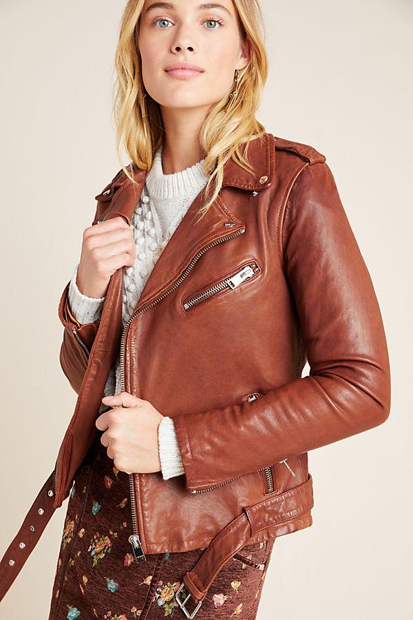 Slide View: 1: Lamarque Kiyoshi Leather Moto Jacket