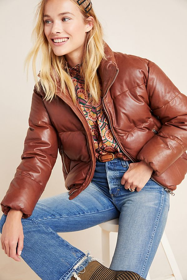 Lamarque Iris Leather Puffer Coat from Anthropologie