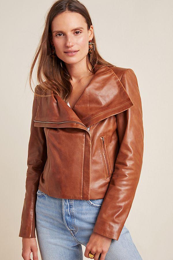 Slide View: 4: Lamarque Talia Leather Moto Jacket