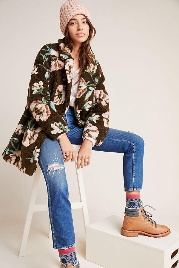 Slide View: 1: Olivia Floral Teddy Coat