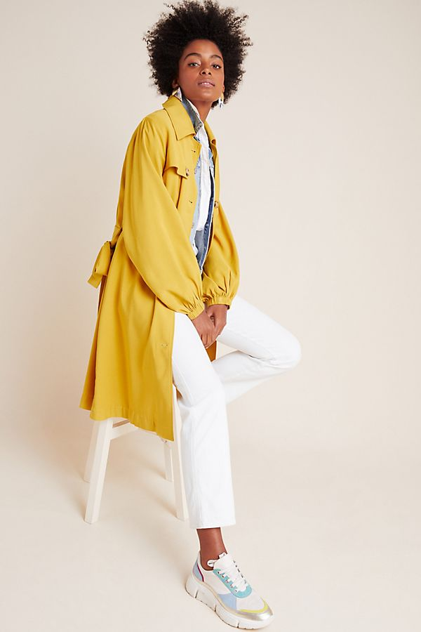 Slide View: 1: Bristol Puff-Sleeved Trench Coat