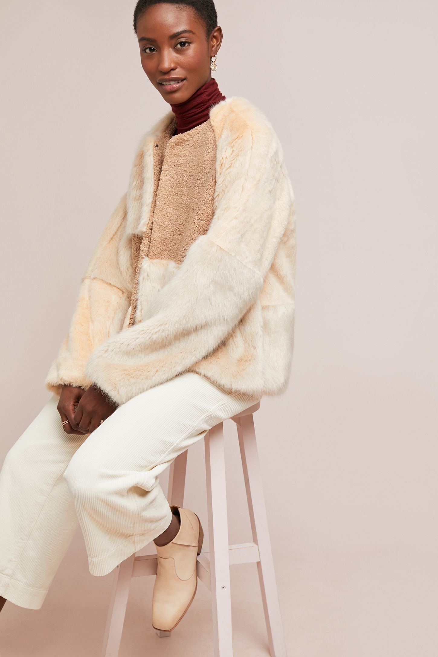19e4c905a6 Patched Faux Fur Jacket | Anthropologie