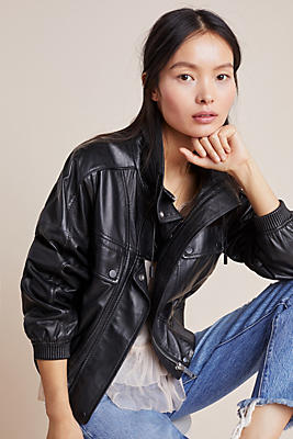Slide View: 1: Apollo Leather Bomber Jacket