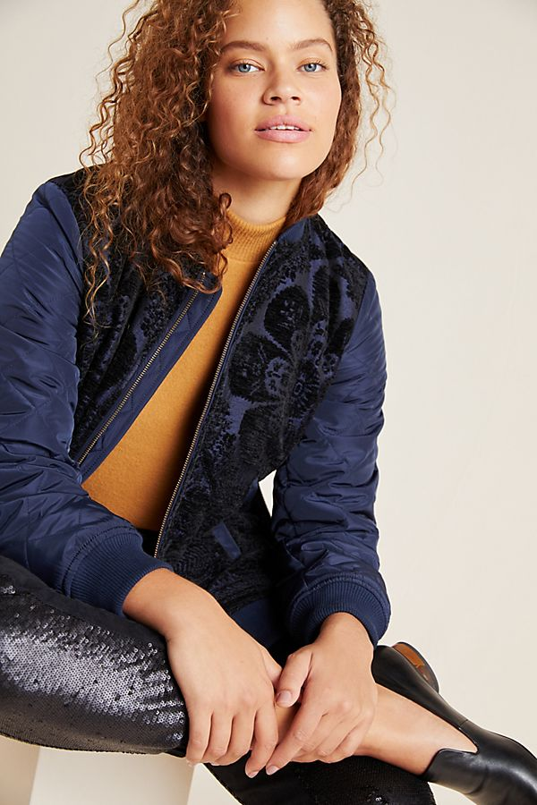 Slide View: 1: Clemence Quilted Bomber Jacket