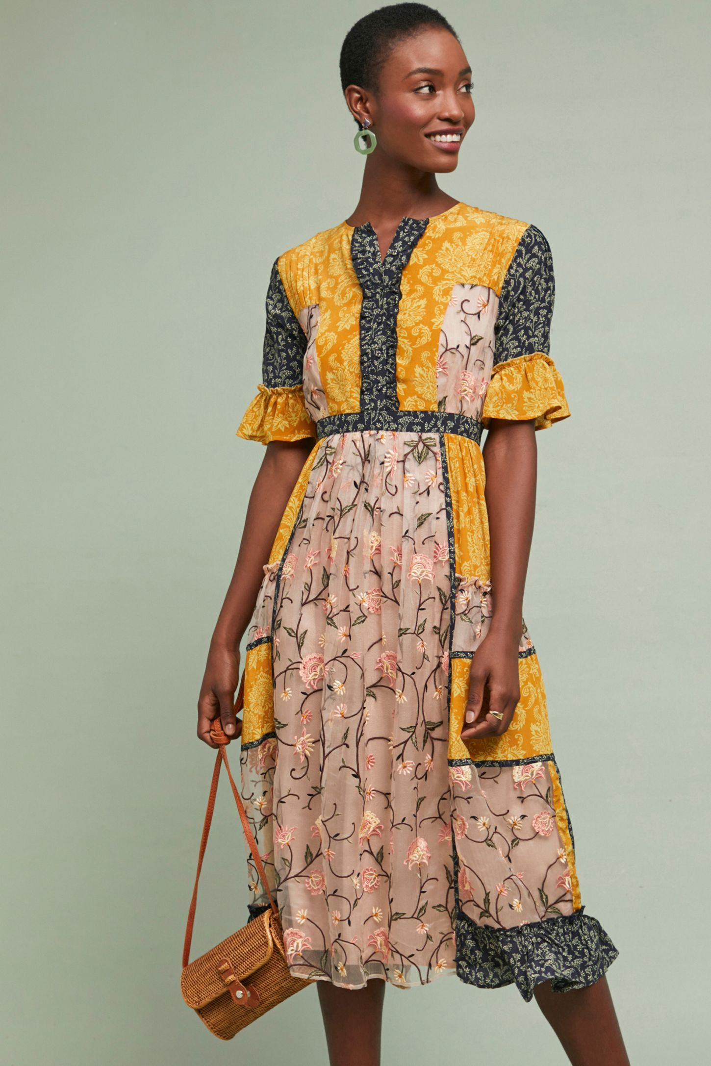 4c8130394bc7 Mina Patchwork-Silk Midi Dress   Anthropologie UK