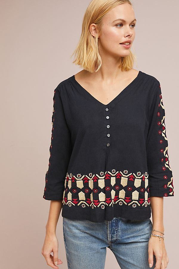 3fe9a6a319a596 Marianna Embroidered Top