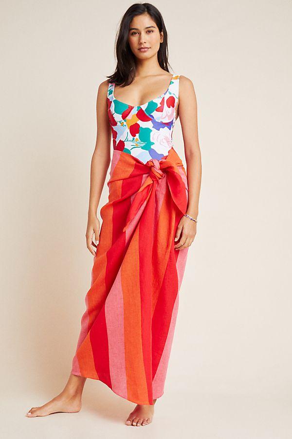 Slide View: 1: Mara Hoffman Izzi Tie-Front Linen Skirt