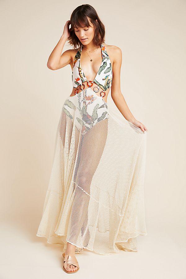 Slide View: 1: PatBO Tropical One-Piece Swim Dress