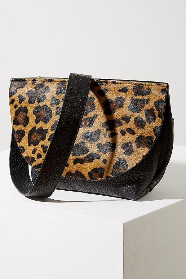 Leopard Print Leather Crossbody Bag