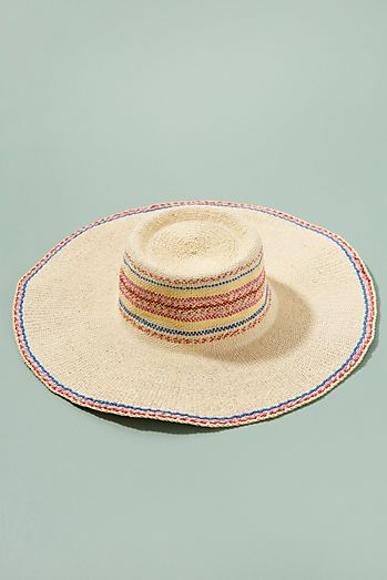 7de64749120 Embroidered-Striped Floppy Hat