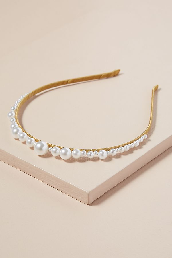 Faux Pearl Embellished Skinny Headband by Anthropologie