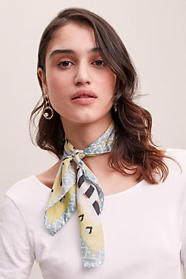 Geometric Tile Print Silk Scarf by Anthropologie