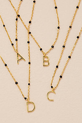 Beaded Monogram Necklace by Anthropologie