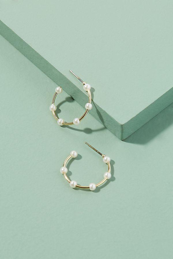 Faux Pearl Embellished Mini Hoop Earrings by Anthropologie