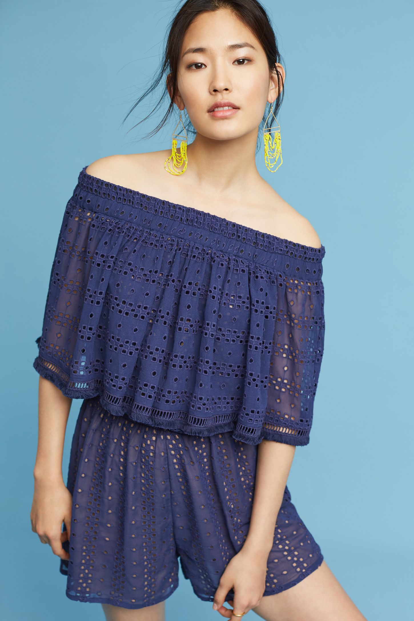 a4ca1356e20b Tiered Eyelet Off-The-Shoulder Romper