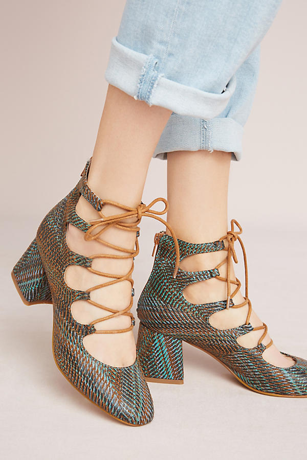 2c511386b0 Vanessa Wu Ghillie Lace-Up Heels