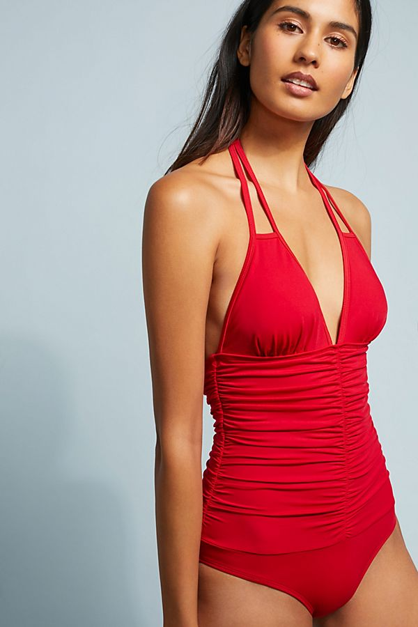 0d7a915600481 L Space Ruched Side One-Piece Swimsuit   Anthropologie